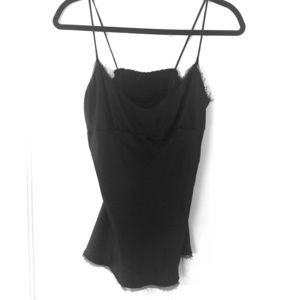 Vince Silk Cami with lace frayed trim XS